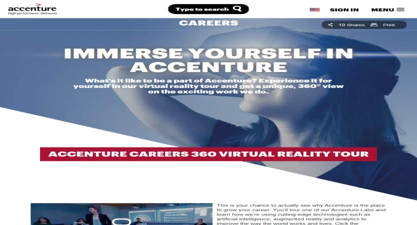 image of Accenture Wins 2016 Best Marketing Mobile Website, Best Technology Mobile Website Mobile WebAward for Accenture Careers 360 Virtual Reality Tour