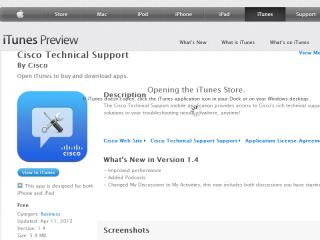 image of Cisco Systems, Inc. Wins 2012 Best Advocacy Mobile Application Mobile WebAward for Cisco Technical Support iPhone/iPad Application