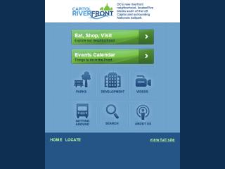 image of Geocentric Wins 2012 Best Regional Mobile Website Mobile WebAward for Capitol Riverfront Business Improvement District