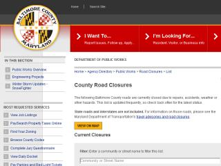 image of Baltimore County MD - Office of Information Technology Wins 2014 Best Interactive Services Mobile Website Mobile WebAward for Road Closures