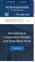 image of TopSpot Internet Marketing Wins 2015 Best Small Business Mobile Website Mobile WebAward for Punum Roofing of Houston Responsive Website