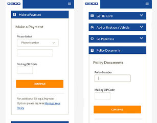 image of GEICO Wins 2015 Best Insurance Mobile Website Mobile WebAward for GEICO Express Web