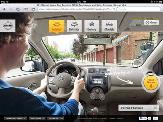 image of Nissan North America & Critical Mass Wins 2012 Best Automobile Mobile Application Mobile WebAward for Nissan Versa iPad Experience