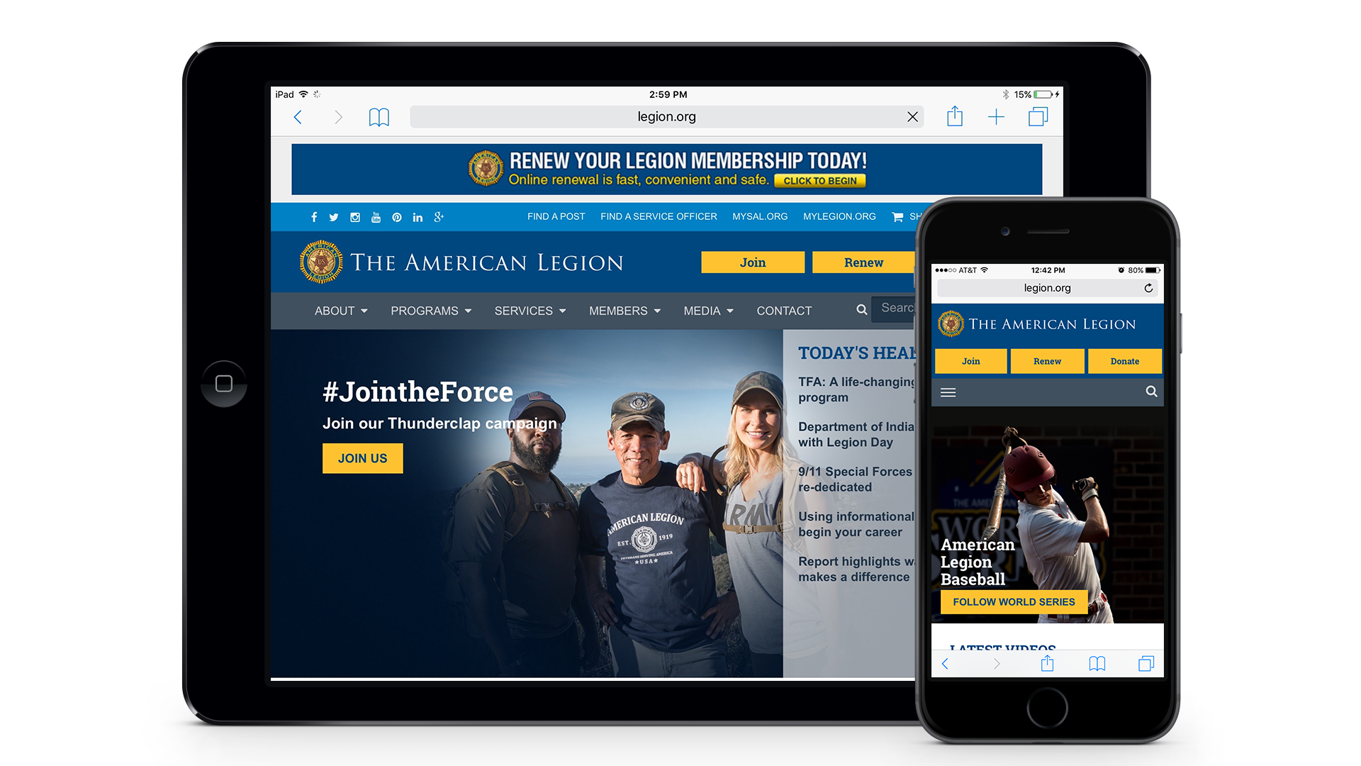 image of Sudden Industries & The American Legion Wins 2016 Best Military Mobile Website Mobile WebAward for American Legion