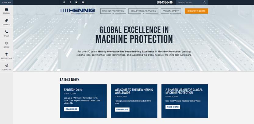 image of TopSpot Internet Marketing Wins 2016 Best B2B Mobile Website, Best International Business Mobile Website Mobile WebAward for Hennig Worldwide Responsive Website