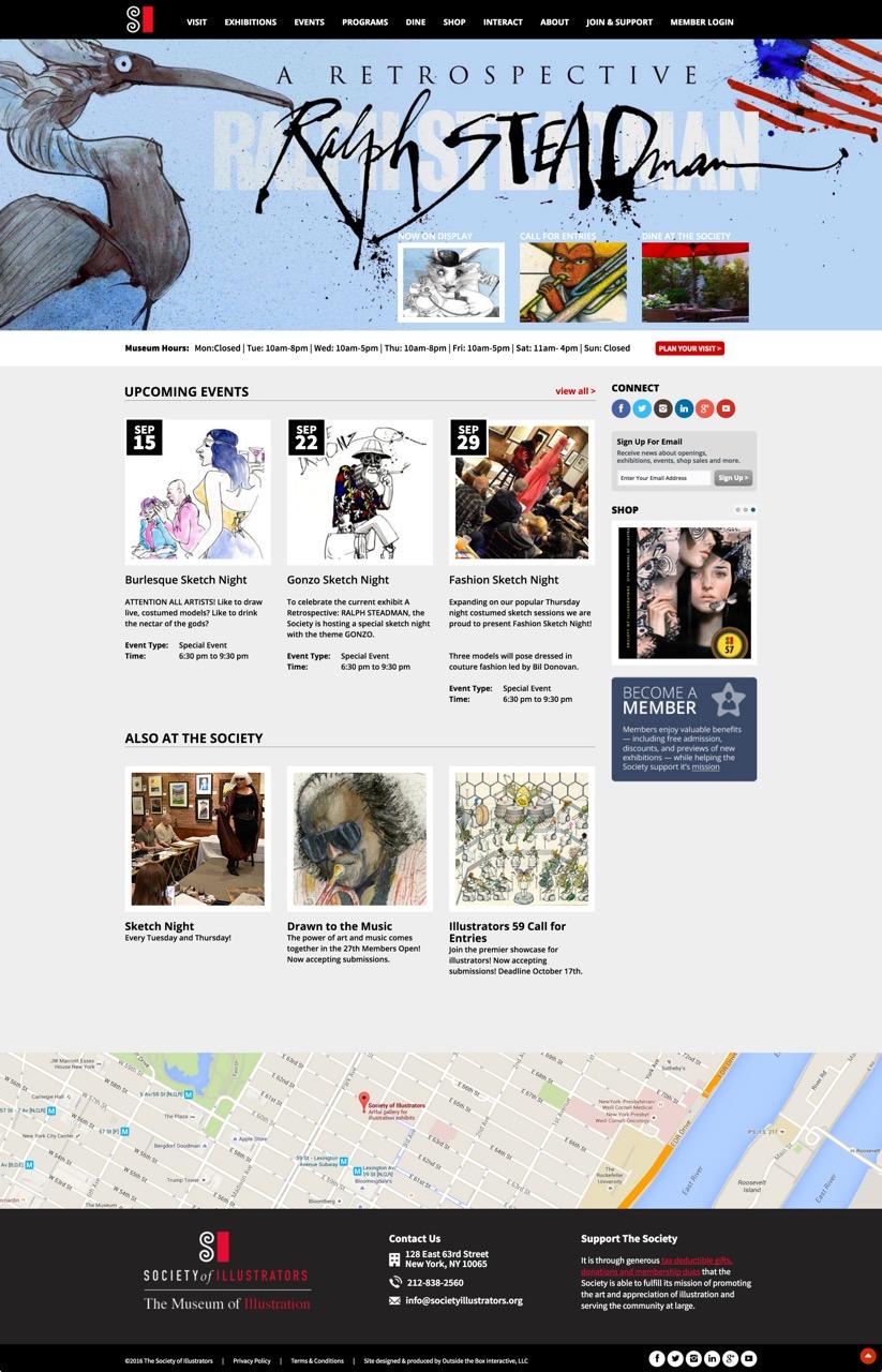 image of Outside the Box Interactive LLC Wins 2016 Best Arts Mobile Website Mobile WebAward for Society of Illustrators