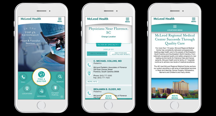 image of LHWH Advertising & PR Wins 2017 Best Healthcare Provider Mobile Website Mobile WebAward for McLeod Health Mobile Site