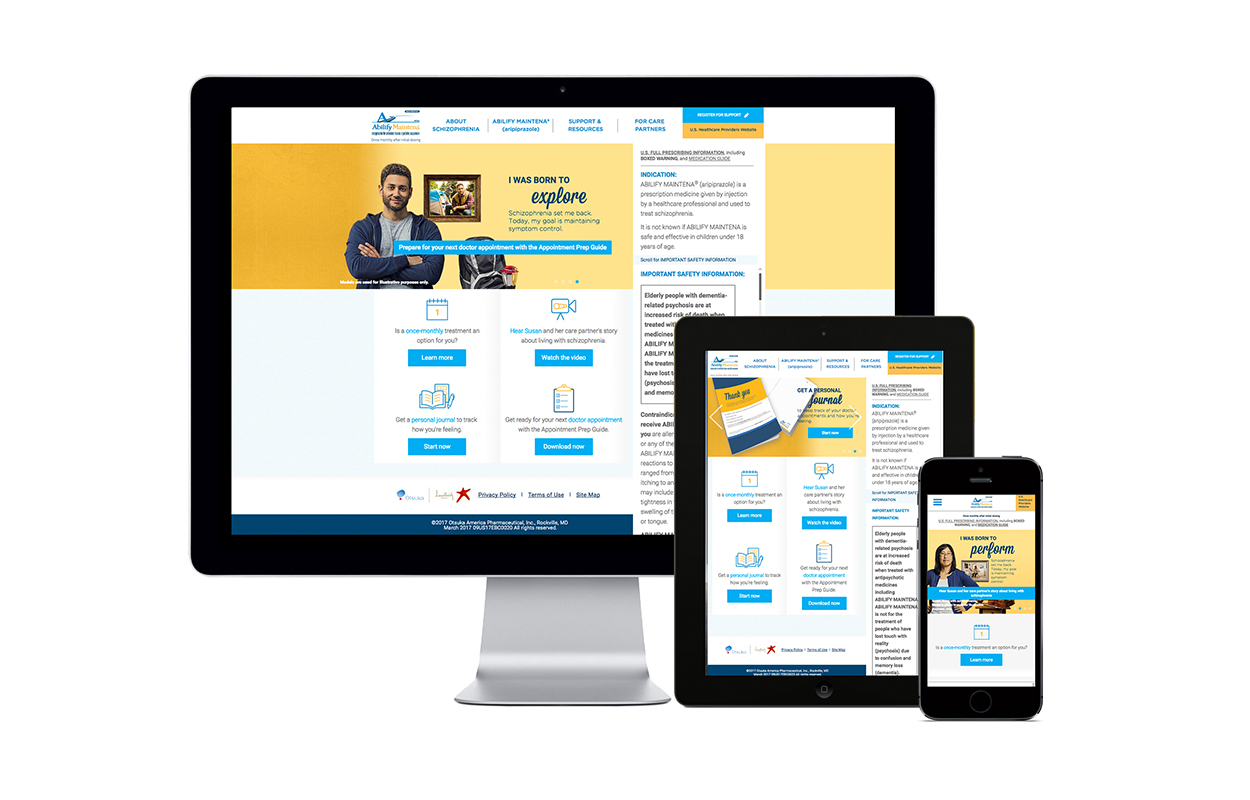 image of  Wins 2017 Best Pharmaceuticals Mobile Website Mobile WebAward for ABILIFY MAINTENA® (aripiprazole) Schizophrenia Mobile Website