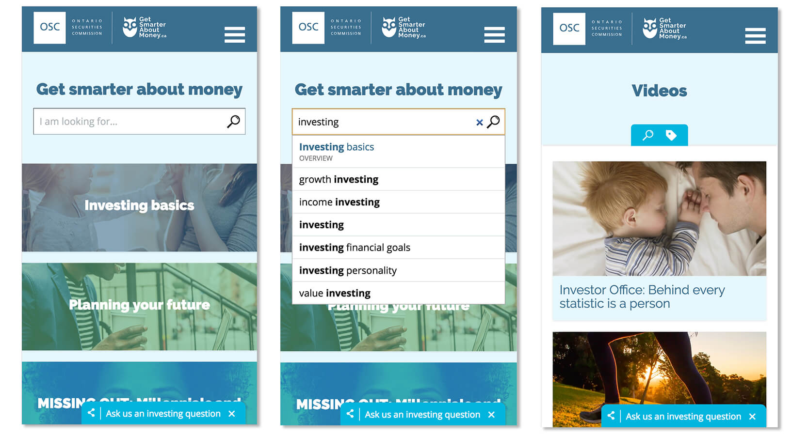 image of Ontario Securities Commission's Investor Office  Wins 2017 Best Information Services Mobile Website Mobile WebAward for Ontario Securities Commission's GetSmarterAboutMoney.ca