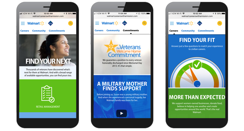 image of TMP Worldwide Wins 2017 Best Military Mobile Website, Best of Show Mobile Website Mobile WebAward for Walmart Careers with a Mission