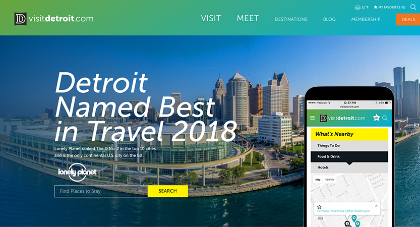 image of Octane Design and InsideOut Design & Development Wins 2017 Best Travel Mobile Website Mobile WebAward for Visit Detroit Website