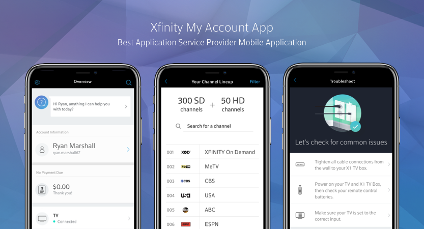 image of Comcast Digital Center of Excellence Wins 2017 Best Application Service Provider Mobile Application Mobile WebAward for XFINITY My Account Mobile App