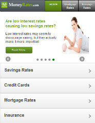 image of MoneyRates.com: Helping you make the most of your money Wins 2012 Best Financial Services Mobile Website Mobile WebAward for MoneyRates.com Mobile Site
