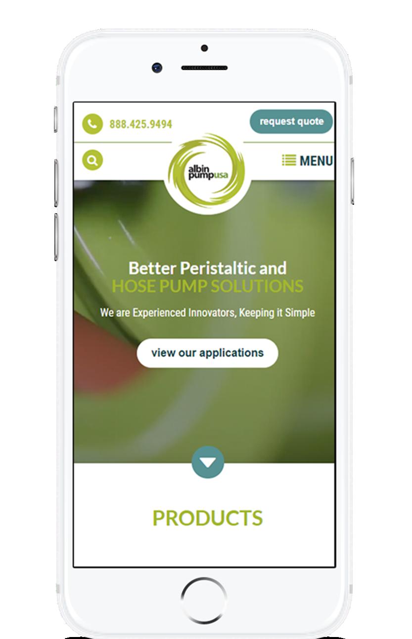image of TopSpot Internet Marketing Wins 2018 Best Manufacturing Mobile Website Mobile WebAward for Albin Pump USA Website
