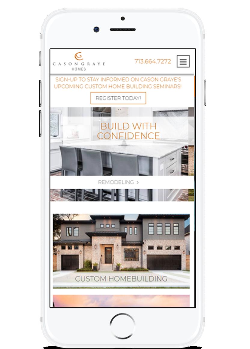 image of TopSpot Internet Marketing Wins 2018 Best Home Building Mobile Website Mobile WebAward for Cason Graye Homes Website