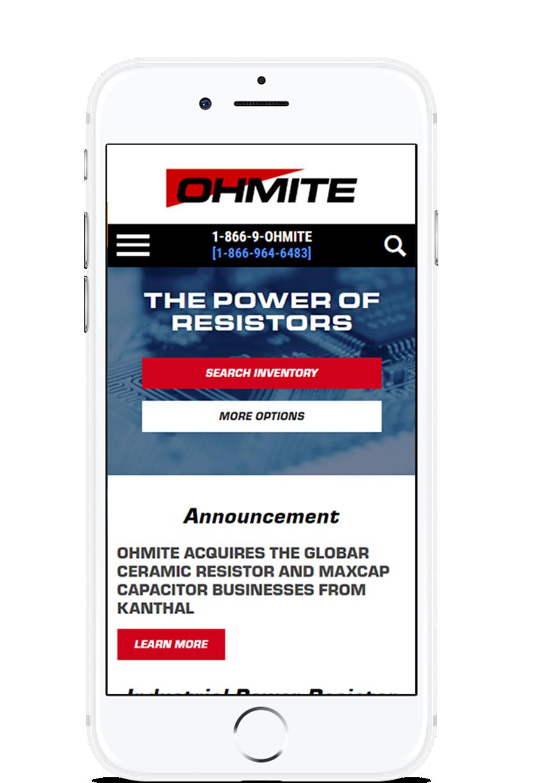 image of TopSpot Internet Marketing Wins 2018 Best Catalog Mobile Website Mobile WebAward for Ohmite Mfg Co Website