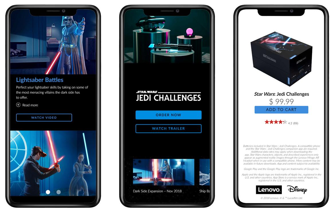 image of Lenovo Wins 2018 Best Game Site Mobile Website Mobile WebAward for Star Wars: Jedi Challenges