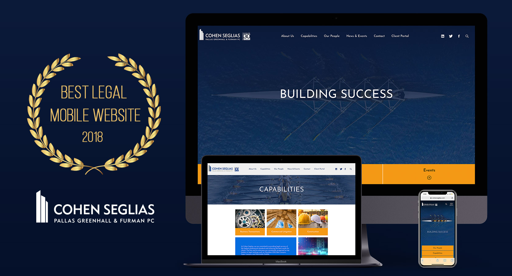 image of Legal Internet Solutions Incorporated Wins 2018 Best Legal Mobile Website Mobile WebAward for Cohen Seglias Pallas Greenhall & Furman PC