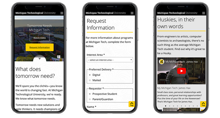 image of University Marketing and Communications Wins 2019 Best University Mobile Website Mobile WebAward for Tomorrow Needs Michigan Tech