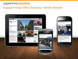 image of Aperto Move / Aperto AG Wins 2012 Outstanding Mobile Website Mobile WebAward for Federal Foreign Office Germany - German Missions in the world mobile