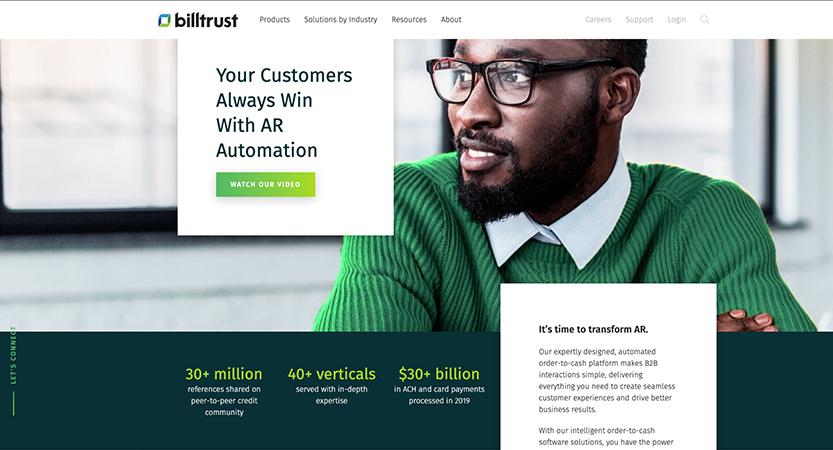image of Billtrust Wins 2019 Best Financial Services Mobile Website Mobile WebAward for Billtrust Website