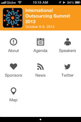 image of TeamAsia (Hamlin-Iturralde Corporation) Wins 2013 Best Information Services Mobile Application Mobile WebAward for International Outsourcing Summit 2013 Event Mobile App