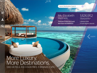image of Starwood Hotels & Resorts Wins 2013 Best Hotel and Lodging Mobile Application Mobile WebAward for Starwood Preferred Guest iPad App